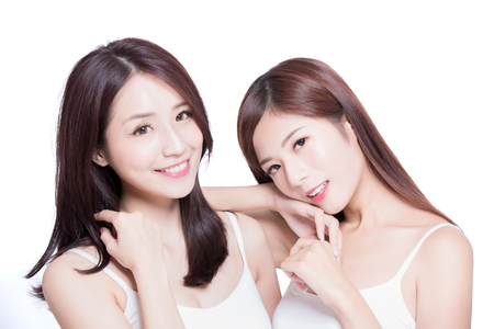 Photo pour two beauty skincare woman on the white background - image libre de droit