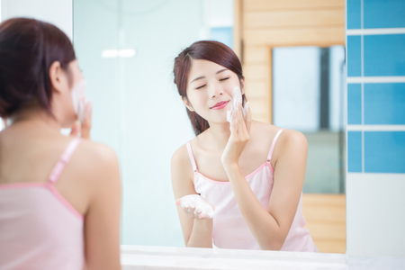 Photo for beauty woman clean her face in the bathroom - Royalty Free Image