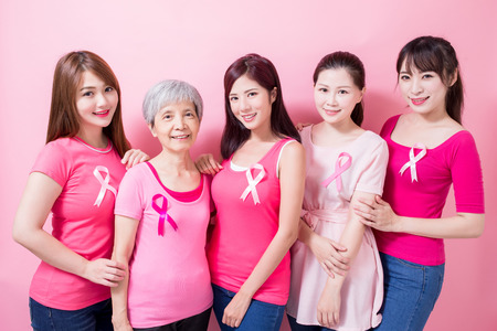 Photo pour women with breast cancer prevention on the pink background - image libre de droit
