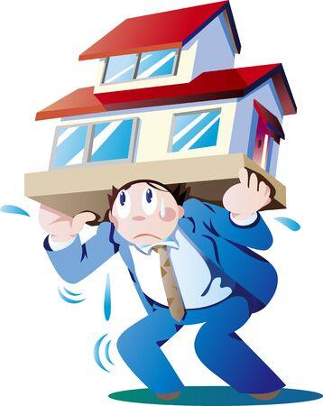 Illustration pour Company employee with heavy burden of mortgage - image libre de droit