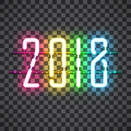Ilustración de Glowing Multi Color Neon sign 2018 on transparent background with wires, tubes, brackets and holders. Vector element for New Year card, logo or other design. Shining and glowing effect. Vector - Imagen libre de derechos