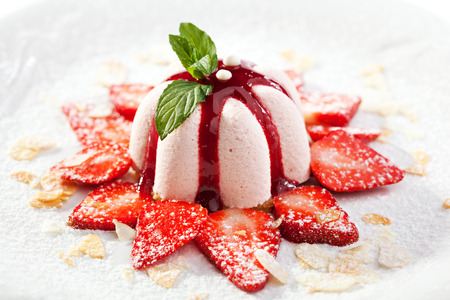 Photo for Sweet Dessert with Strawberries and Berries Jam - Royalty Free Image