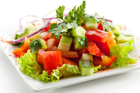 Photo pour Fresh Tomato and Cucumber Salad - image libre de droit