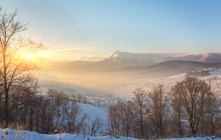 Photo for Beautiful winter landscape in the mountains. Sunrise - Royalty Free Image