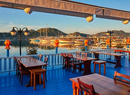 Photo pour The best way to finish the day in turkish riviera is to visit one of the restaurant with a great view on mediterranean seascape, Kekova, Turkey - image libre de droit