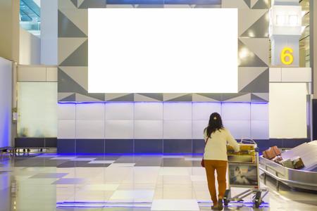 Foto de beautiful blank advertising billboard at airport background large LCD advertisement - Imagen libre de derechos