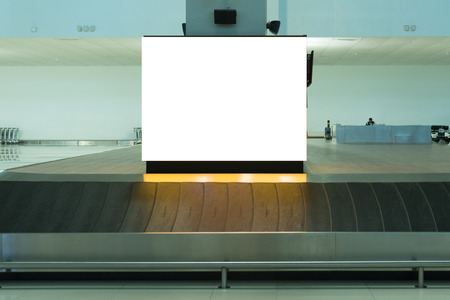 Photo pour beauty  full blank advertising billboard at airport background large LCD advertisement - image libre de droit