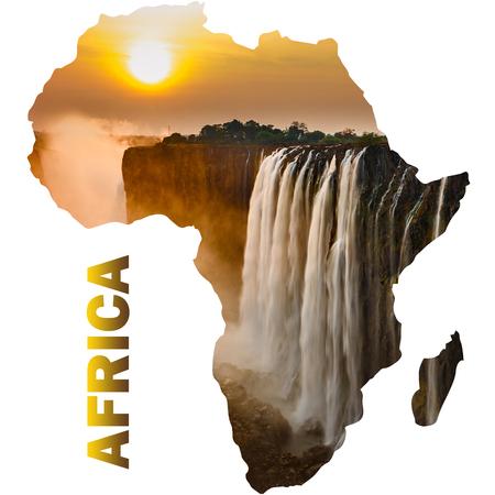 Photo pour Victoria falls sunset with orange sun and africa continent - image libre de droit