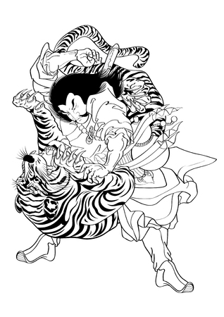Illustration for vector illustration  Graphic Tattoo Japanese Style Japan Tiger - Royalty Free Image