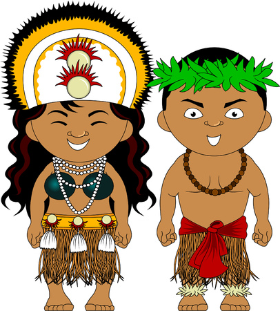 Illustration pour Man and woman in traditional costume. Vector and illustration - image libre de droit