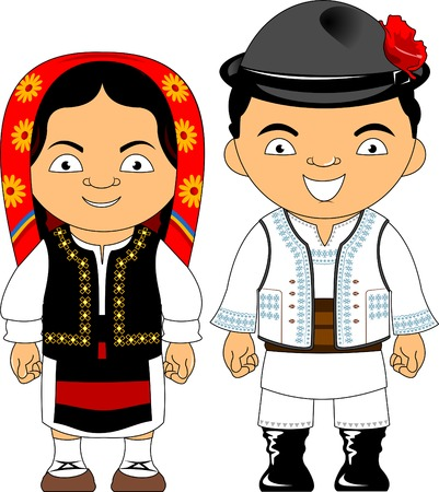 Illustration pour Man and woman in traditional costume, vector flat illustration - image libre de droit