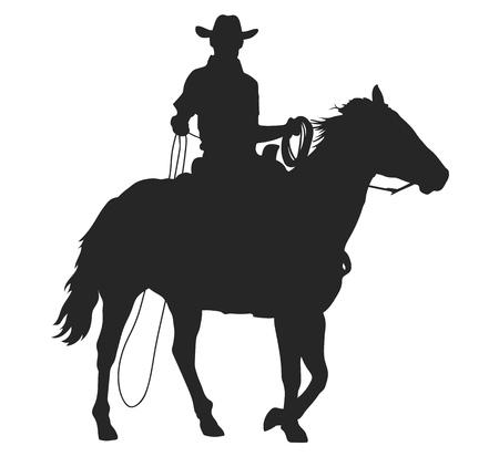 Ilustración de cowboy with lasso riding a horse, isolated vector silhouette - Imagen libre de derechos