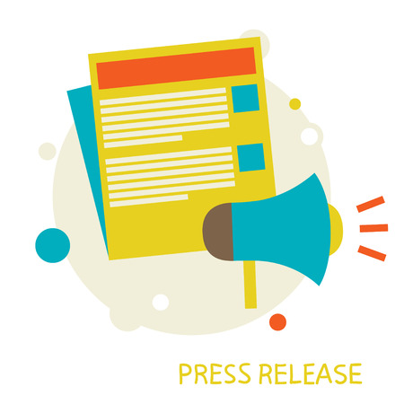 Illustration for vector illustration in a flat style  Press Release  Eps 10 - Royalty Free Image