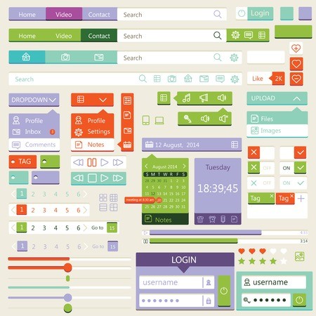 Illustration pour Flat elements design, ui set. Vector - image libre de droit