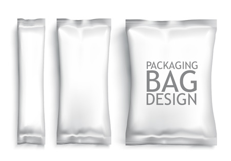 Illustration for White Blank Foil pack . Plastic Pack Template for your design and branding. Vector - Royalty Free Image