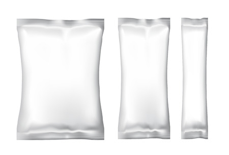 Illustration pour White Blank Foil Food Snack pack For Chips, Spices, Coffee, Salt, and other products. Plastic Pack Template for your design and branding. Vector - image libre de droit