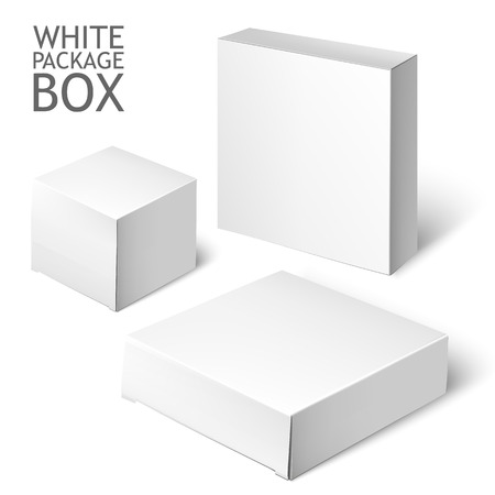 Illustration pour Cardboard Package Box. Set Of White Package Square For Software, DVD, Electronic Device And Other Products.  Mock Up Template Ready For Your Design.  Vector Illustration  Isolated On White Background. - image libre de droit
