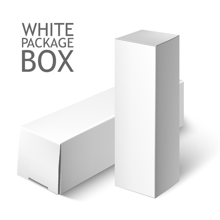 Illustration for Cardboard Package Box. Set Of White Package Square For Software, DVD, Electronic Device And Other Products.  Mock Up Template Ready For Your Design.  Vector Illustration  Isolated On White Background. - Royalty Free Image
