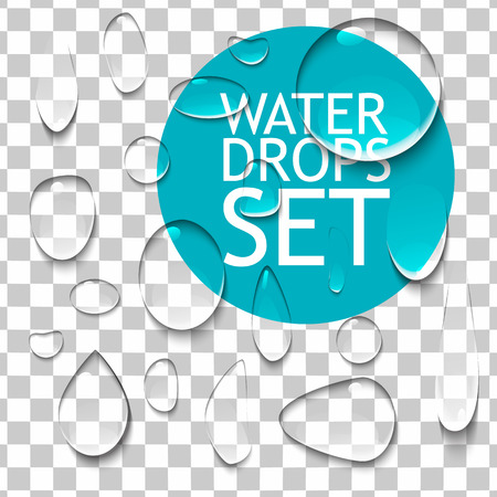 Illustration pour Transparent Pure Clear Water Drops Realistic Set. Ready For Your Design. Vector Illustration  Isolated - image libre de droit