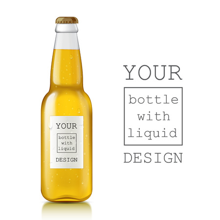 Illustration pour Template of glass beer bottles. Realistic clear bottle with highlights and liquid - beer, juice, water, soda. Place a sample of your design is ready. There are water droplets on the label and glass - image libre de droit