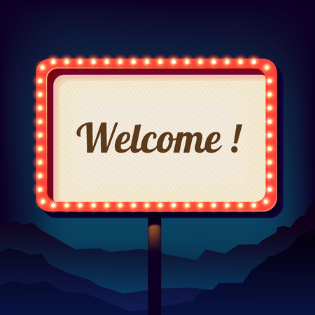 Illustration pour Vintage shield with an inscription welcome. Promotional 3d retro sign over the city. Night sign on a background of mountains. Is welcomed. Neon lights on a street sign. Vector - image libre de droit