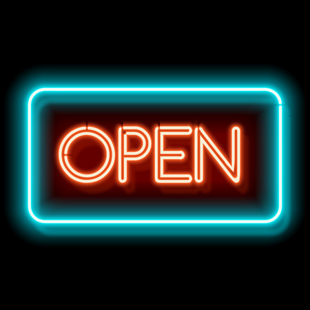 Foto de Retro club inscription Open. Vintage electric signboard with bright neon lights. Blue and red light falls on a black background. illustration - Imagen libre de derechos