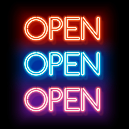 Photo for Neon sign Open. Inscription to login. Electric lamp in the form of words. Retro sign for the club on black background. Red, blue, violet light in the form of text. illustration - Royalty Free Image