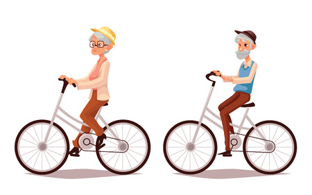 Illustration for Mature couple riding bikes, vector cartoon illustration of two old people zhenschitsy men ride bicycles, old men and women involved in sports, old and the old ride bikes, isolated couple old people - Royalty Free Image