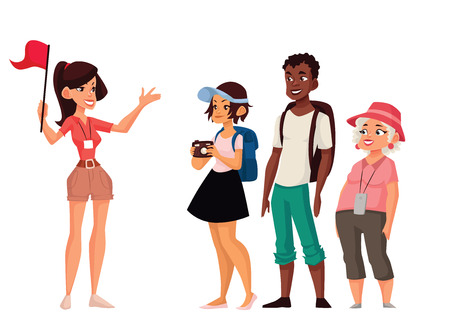 Ilustración de Tour vacation with guide, vector cartoon comic illustration isolated on a white background, a group of tourists listening to the history of the city, exploring attractions in the journey, guide tells - Imagen libre de derechos