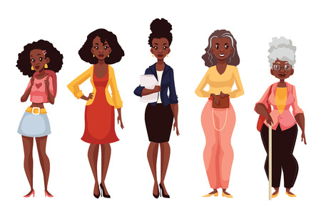 Ilustración de Set of black women of different ages from adolescence youth to maturity and old age, vector illustration isolated on white background. Various generations at African American women - Imagen libre de derechos