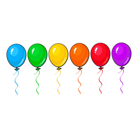 Illustration pour Set of bright and colorful balloons, cartoon vector illustration isolated on white background. Line of multicolored balloons, birthday, party carnival decoration elements - image libre de droit