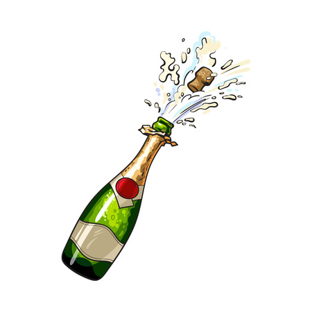 Ilustración de Champagne bottle with cork popping out, sketch style vector illustration isolated on white background. Diagonal view of hand drawn champagne bottle with cork jumping out with explosion - Imagen libre de derechos