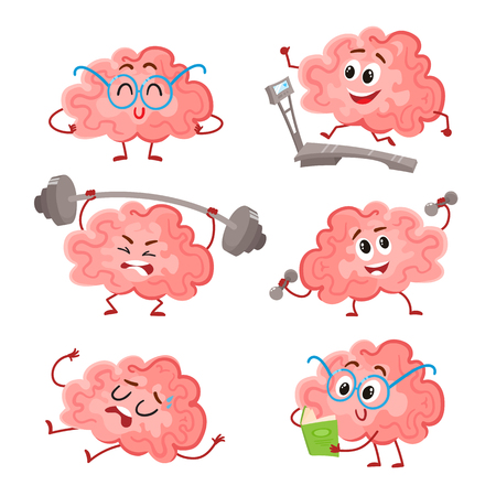 Ilustración de Funny brain training with barbell, dumbbells, on treadmill, reading and resting, cartoon vector illustration on white background. Set of cute brains as a metaphor of brain training and development - Imagen libre de derechos