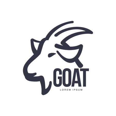 Illustration for Side view goat head logo template for meat and dairy products, cartoon vector illustration on white background. Goat profile outline for dairy, meat, farm products logo design - Royalty Free Image