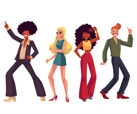 Illustration pour People in 1970s style clothes dancing disco, cartoon style vector illustration isolated on white background. Men and women in 60s, 70s style clothing dancing at retro disco party - image libre de droit