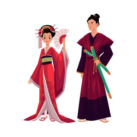 Illustration pour Japanese geisha and samurai in traditional kimono, symbols of Japan, cartoon vector illustration isolated on white background. Full length portrait of typical Japanese geisha and samurai - image libre de droit