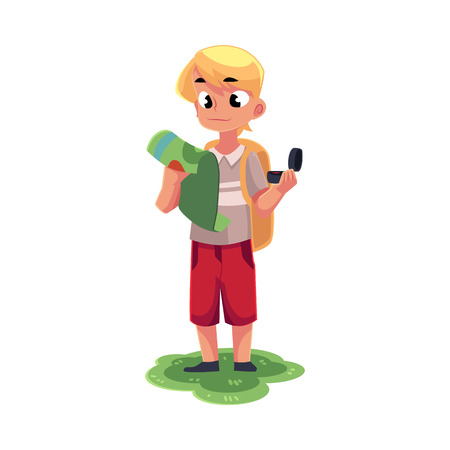 Illustration for Teenage Caucasian boy with a backpack studying map, holding compass, camping, hiking concept, cartoon vector illustration isolated on white background. - Royalty Free Image