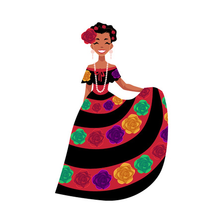 Illustration for Mexican woman in traditional national dress decorated with embroidered flowers, cartoon vector illustration isolated on white background. Full length portrait of Mexican woman. - Royalty Free Image