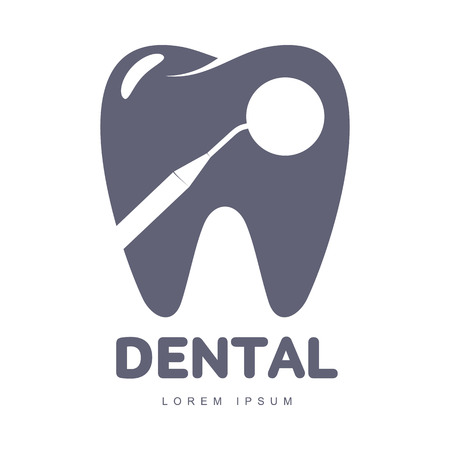 Illustration pour Graphic, black and white tooth, dental care logo template with mirror silhouette over tooth shape, vector illustration isolated on white background. Stylized tooth, dental care logotype, logo design - image libre de droit