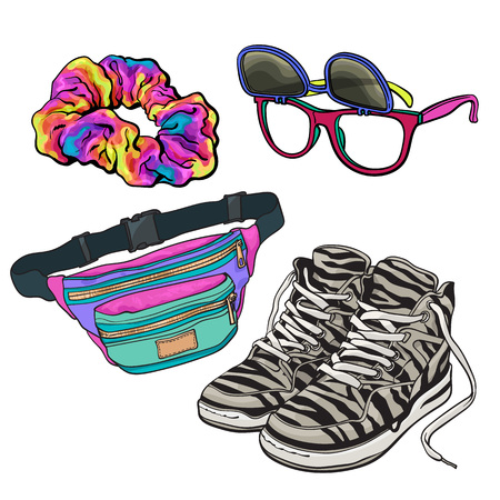 Illustration pour Retro pop culture items from 90s - scrunchie, sunglasses with removable lenses, zebra sneakers and waist pack, sketch illustration isolated on white background. Realistic hand drawn set of 90s items - image libre de droit