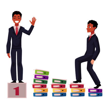 Ilustración de Black, African American businessman, manager going up career ladder and standing on winner pedestal, cartoon vector illustration isolated on white background. Black businessman, achieving success - Imagen libre de derechos