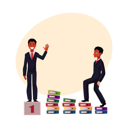 Ilustración de Black, African American businessman, manager going up career ladder and standing on winner pedestal, cartoon vector illustration with ?for text. Black businessman, achieving success - Imagen libre de derechos