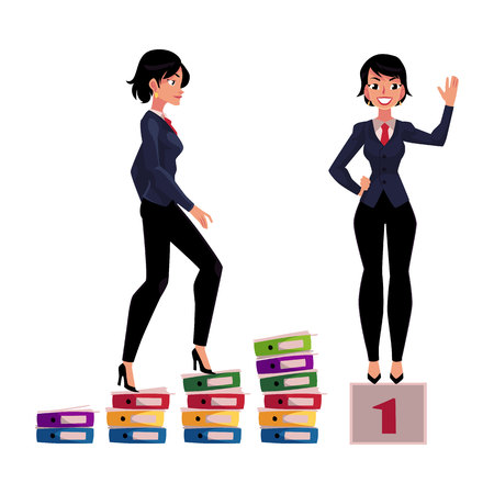 Ilustración de Young businesswoman climbing career ladder and standing on winner pedestal, cartoon vector illustration isolated on white background. Pretty business woman achieving success, celebrating victory - Imagen libre de derechos