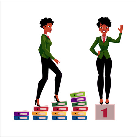Ilustración de Young African American businesswoman climbing career ladder and standing on winner pedestal. - Imagen libre de derechos