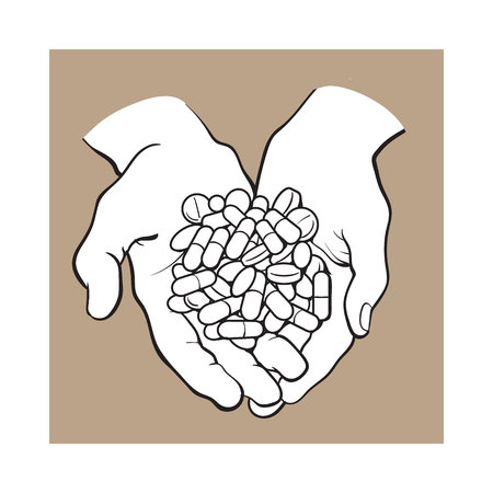 Illustration for Two cupped hands holding handful, pile of pills, tablets, medicine, black and white sketch style vector illustration on brown background. - Royalty Free Image