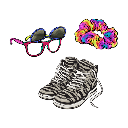 Illustration pour 90s fashion accessories isolated on white background. - image libre de droit