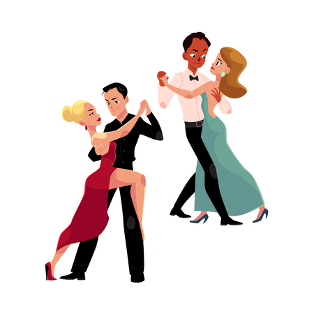 Illustration pour Two couples of professional ballroom dancers dancing, looking at each other, cartoon vector illustration isolated on white background. Two ballroom dance couples dancing tango, waltz, rumba - image libre de droit