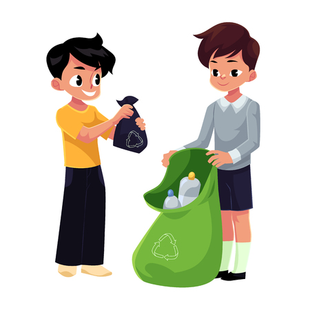 Illustration for Kids, boys collect plastic bottles into garbage bag, waste recycling concept, cartoon vector illustration isolated on white background. - Royalty Free Image