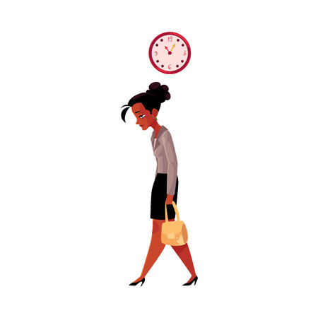 Ilustración de Tired black, African American businesswoman, going home after work, clock showing time, cartoon vector illustration isolated on white background. Black businesswoman sad, tired, going home from work - Imagen libre de derechos