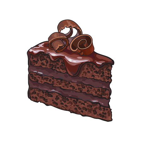 Illustration pour Hand drawn piece of layered chocolate cake with icing and shavings, sketch style illustration isolated on white background. Realistic hand drawing of piece, slice of chocolate cake - image libre de droit